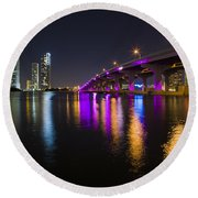 Miami Downtown Skyline Round Beach Towel