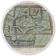 1597 Ptolemy  Magini  Keschedt Map Of Pakistan Iran And Afghanistan Round Beach Towel by Paul Fearn