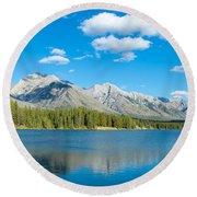 Lake With Mountains In The Background Round Beach Towel