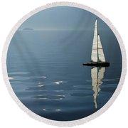Sailing Boat Round Beach Towel