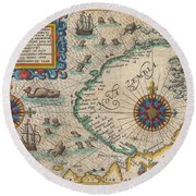 1601 De Bry And De Veer Map Of Nova Zembla And The Northeast Passage Round Beach Towel
