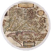 1630 Hondius Map Of Virginia And The Chesapeake Round Beach Towel by Paul Fearn