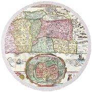 1632 Tirinus Map Of The Holy Land Round Beach Towel