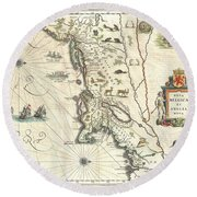 1635 Blaeu Map Of New England And New York Round Beach Towel by Paul Fearn