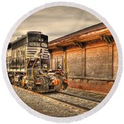 Locomotive 1637 Norfork Southern Round Beach Towel