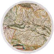 1644 Jansson Map Of Alsace Basel And Strasbourg Geographicus Alsatiasuperior Jansson 1644 Round Beach Towel