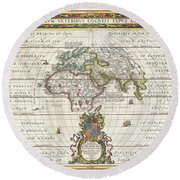 1650 Jansson Map Of The Ancient World Round Beach Towel
