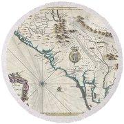 1676 John Speed Map Of Carolina Round Beach Towel by Paul Fearn