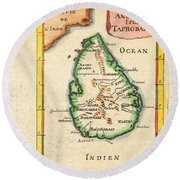 1686 Mallet Map Of Ceylon Or Sri Lanka Taprobane Geographicus Taprobane Mallet 1686 Round Beach Towel