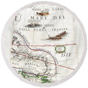 1688 Coronelli Globe Gore Map Of Ne North America The West Indies And Ne South America Geographicus  Round Beach Towel