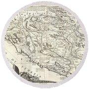 1690 Coronelli Map Of Montenegro Round Beach Towel