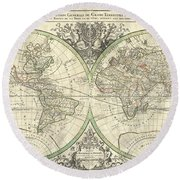 1691 Sanson Map Of The World On Hemisphere Projection Round Beach Towel