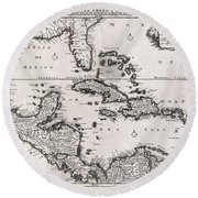 1696 Danckerts Map Of Florida The West Indies And The Caribbean Round Beach Towel