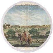 1698 De Bruijin View Of Bethlehem Palestine Israel Holy Land Geographicus Bethlehem Bruijn 1698 Round Beach Towel