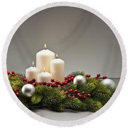 Advent Wreath Round Beach Towel
