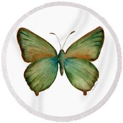 17 Green Hairstreak Butterfly Round Beach Towel