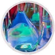 Laboratory Glassware Round Beach Towel by Charlotte Raymond