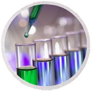 Laboratory Test Tubes In Science Research Lab Round Beach Towel