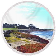 17 Mile Drive Shore Line II Round Beach Towel