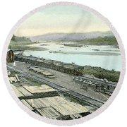 Panama Canal, C1910 Round Beach Towel