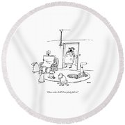 Close-order Drill! Everybody Fall In! Round Beach Towel by George Booth