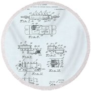 Guitar Pickup Patent Drawing On A Blue Background Round Beach Towel
