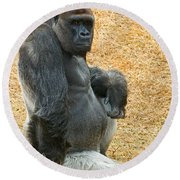 Western Lowland Gorilla Round Beach Towel