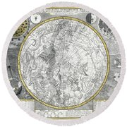 1700 Celestial Planisphere Round Beach Towel