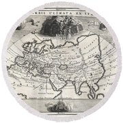 1700 Cellarius Map Of Asia Europe And Africa According To Strabo Round Beach Towel