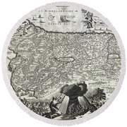 1702 Visscher Stoopendaal Map Of Israel Round Beach Towel