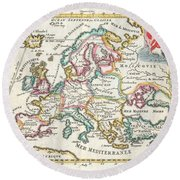 1706 De La Feuille Map Of Europe Round Beach Towel