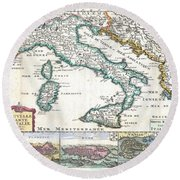 1706 De La Feuille Map Of Italy Round Beach Towel