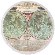 1707 Homann And Doppelmayr Map Of The Moon Geographicus Tabulaselenographicamoon Doppelmayr 1707 Round Beach Towel