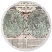 1707 Homann And Doppelmayr Map Of The Moon  Round Beach Towel
