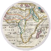 1710 De La Feuille Map Of Africa Round Beach Towel
