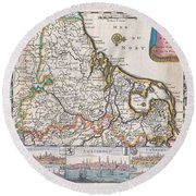 1710 De La Feuille Map Of The Netherlands Belgium And Luxembourg  Round Beach Towel