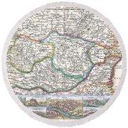1710 De La Feuille Map Of Transylvania  Moldova Round Beach Towel