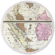 1710 Ottens Map Of Southeast Asia Singapore Thailand Siam Malaysia Sumatra Borneo Round Beach Towel
