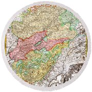 1716 Homann Map Of Burgundy France Geographicus Burgundiae Homan 1716 Round Beach Towel