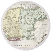 1716 Homann Map Of New England Round Beach Towel