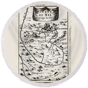 1719 Mallet Map Of The Source Of The Nile Ethiopia Abyssinia Geographicus Nil Mallet 1719 Round Beach Towel