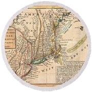 1729 Moll Map Of New York New England And Pennsylvania  Round Beach Towel