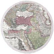 1730 Seutter Map Of Turkey Ottoman Empire Persia And Arabia Round Beach Towel