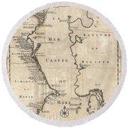 1730 Van Verden Map Of The Caspian Sea Round Beach Towel