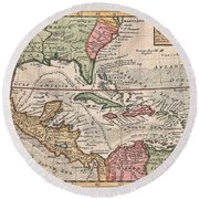 1732 Herman Moll Map Of The West Indies And Caribbean Round Beach Towel