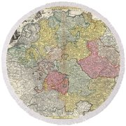 1740 Homann Map Of The Holy Roman Empire Round Beach Towel
