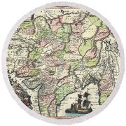 1740 Seutter Map Of India Pakistan Tibet And Afghanistan Round Beach Towel