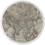 1745 Asia Map Round Beach Towel