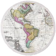 1746 Homann Heirs Map Of South And North America Round Beach Towel
