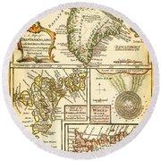 1747 Bowen Map Of The North Atlantic Islands Greenland Iceland Faroe Islands Maelstrom Geographicus  Round Beach Towel